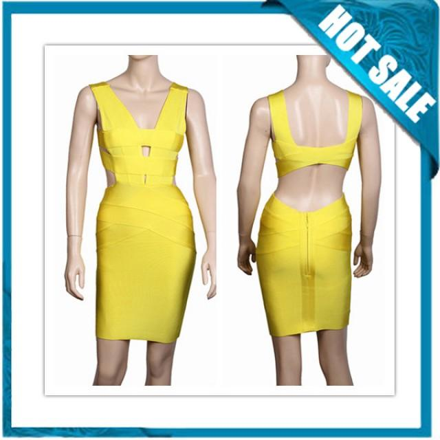 wedding photo - 2014 New Arrival Cheap Yellow Bandage Dress For Sale
