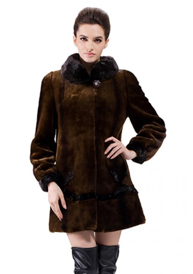 wedding photo - Faux dark coffee rabbit cashmere with black mink fur women middle coat