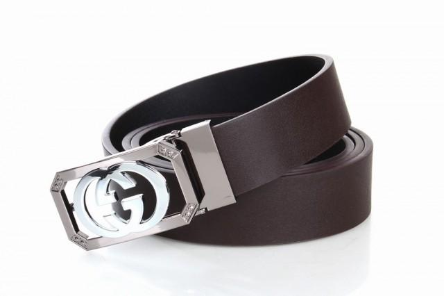 wedding photo - GUCCI GG Initials Brown Leather Belts