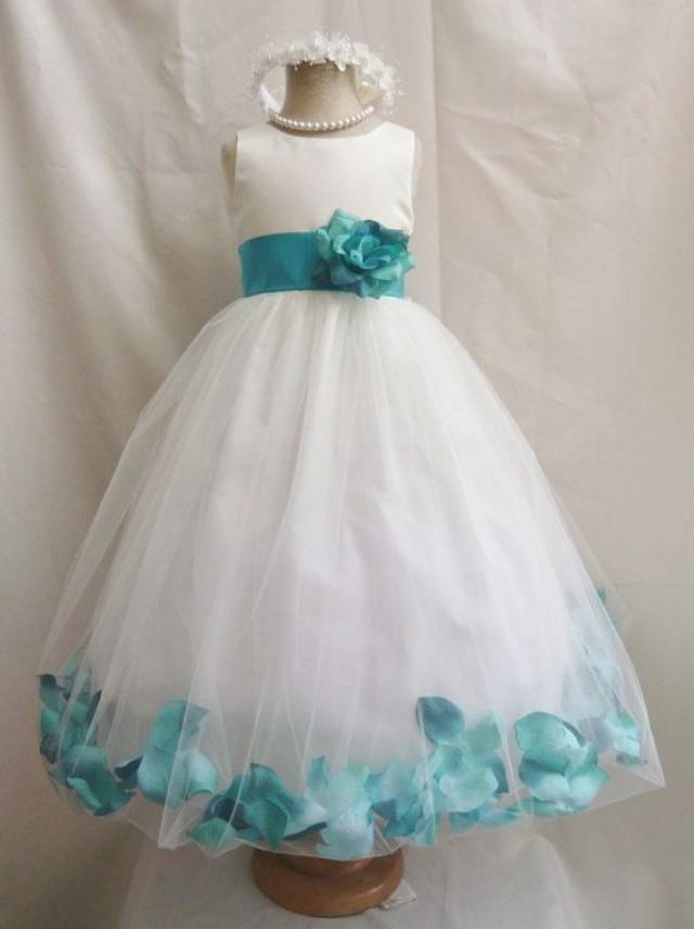 Flower girl dresses ivory with teal rose petal dress for Toddler girl wedding dresses