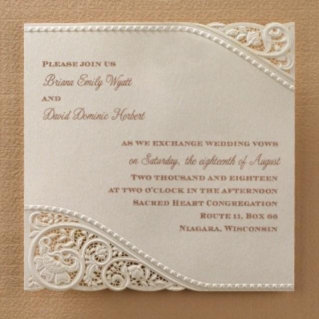 wedding photo - Vitage Pearl and Lace Invitations