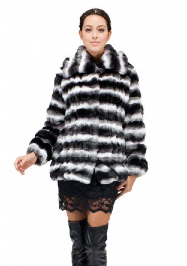 wedding photo - Girls faux fur coat with black chinchilla fur women short coat