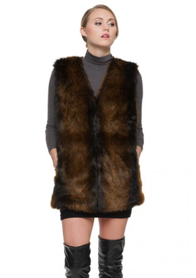 wedding photo - Faux luxury dark brown bunny fur short women vest