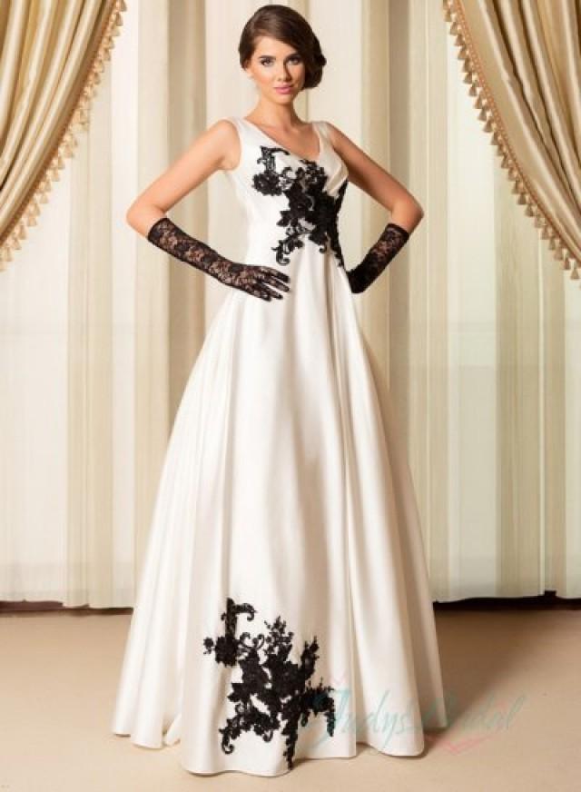 Simple black ivory strappy v neck wedding dress 2015 for Simple ivory wedding dresses
