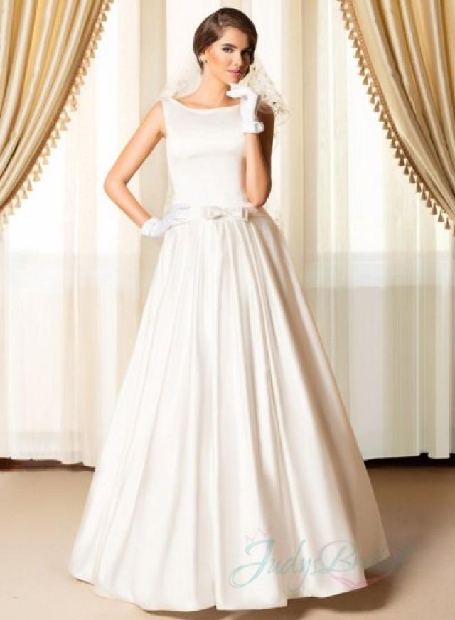Simply chic bateau neck plain satin wedding dresses for Wedding dresses bateau neckline