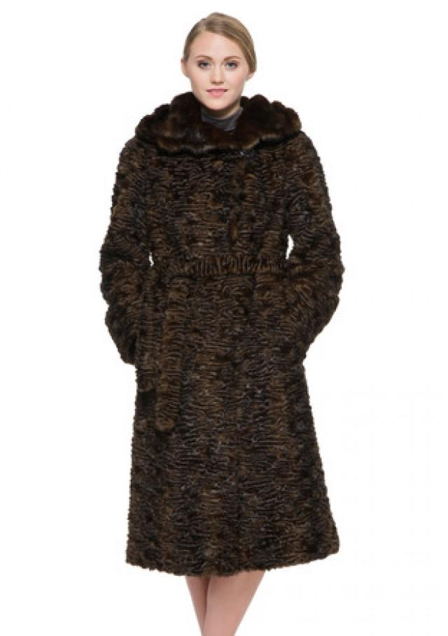 wedding photo - Faux dark brown astrakhan with mink fur hooded long women coat