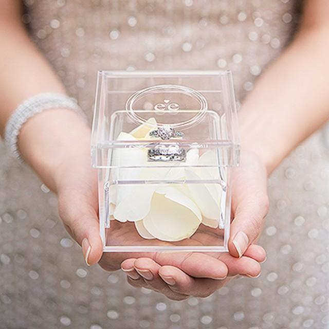 wedding photo - Monogram Simplicity Personalized Unique Alternative Acrylic Wedding Ring Box