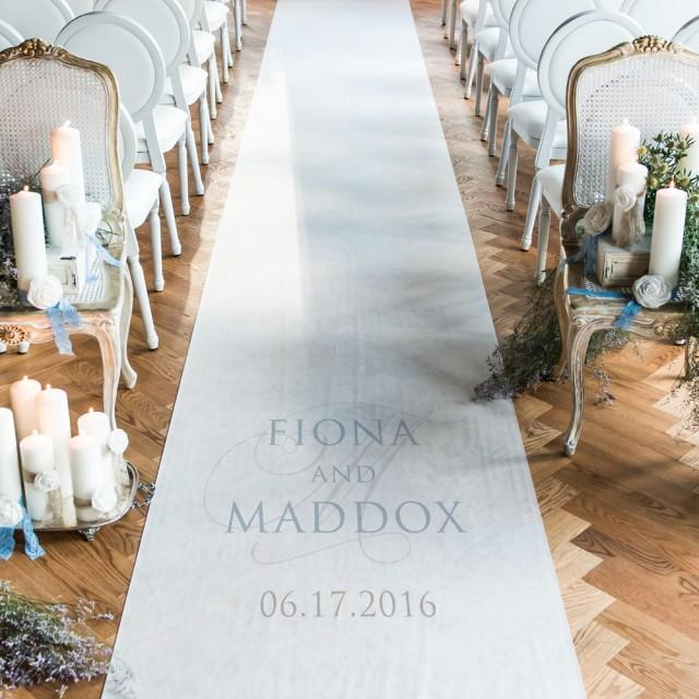 wedding photo - Contemporary Vintage Personalized Aisle Runner
