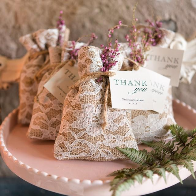 wedding photo - Rustic Chic Burlap And Lace Drawstring Favor Bag
