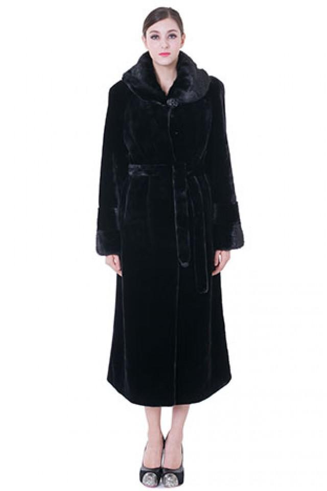 wedding photo - Faux black classic mink cashmere and mink fur women long coat
