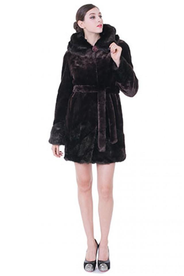 wedding photo - Faux dark purple mink cashmere and fur with ruby button middle women coat