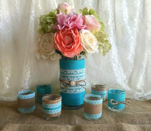 Tiffany Blue Wedding Decoration Ideas: Tiffany Blue Burlap And Lace Covered Votive Tea Candles