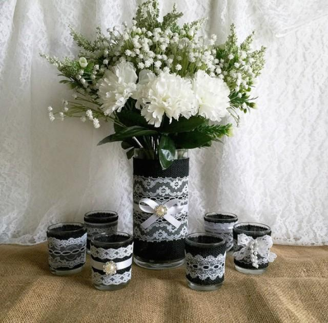 Black burlap and white lace covered votive tea candles and for Lace home decor