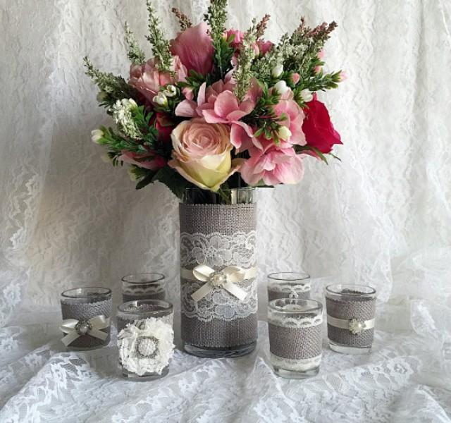 rustic light grey and ivory burlap and lace covered votive. Black Bedroom Furniture Sets. Home Design Ideas