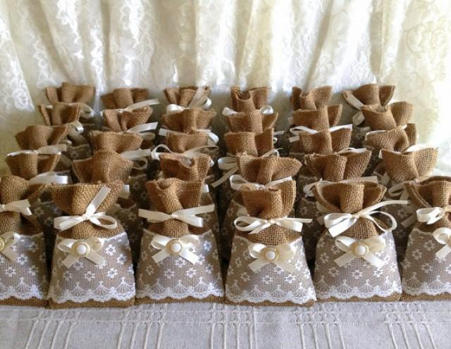 50 Filled Potpourri Lace Covered Burlap Favor Bags