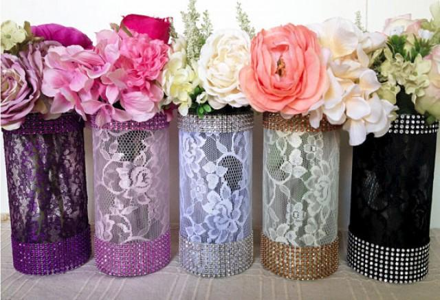 wedding photo - lace and rhinestone covered glass vases, wedding, bridal shower, tea party table centerpieces