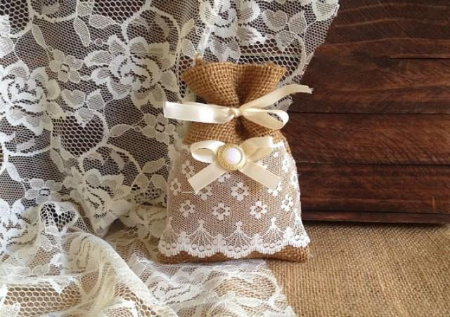 wedding photo - 10 lace covered burlap favor bag, wedding, bridal shower, tea party gift bag