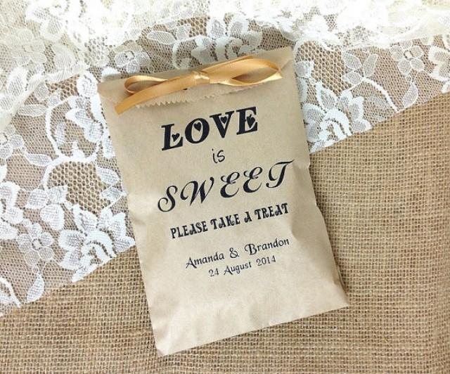 wedding photo - 50 Personalized Love is Sweet rustic wedding favor bag, brown kraft paper bag, wedding gift bags