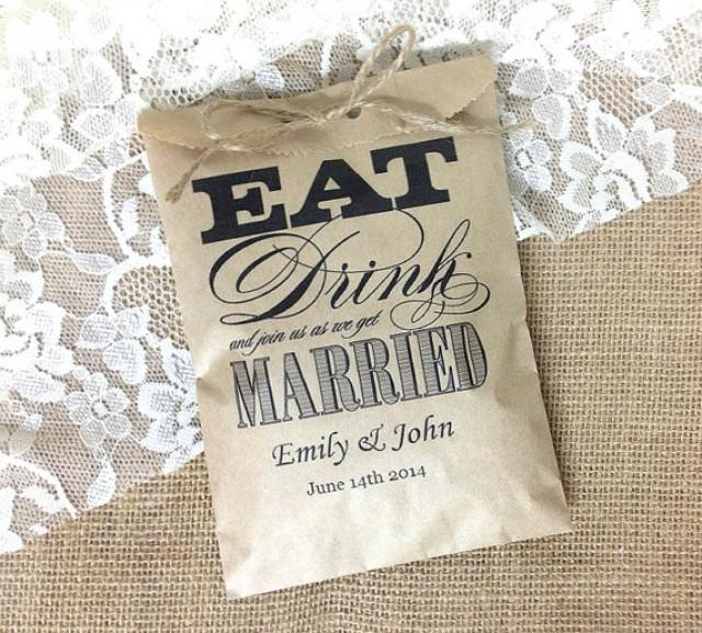 wedding photo - Personalized 50 favor kraft bag, rustic wedding gift bag, eat drink we get married