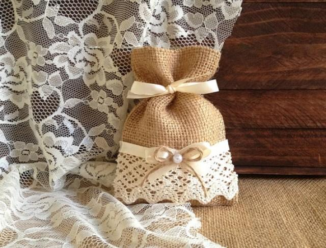 wedding photo - rustic 10 lace covered natural color burlap favor bags, wedding, bridal shower, tea party, baby shower gift bags.