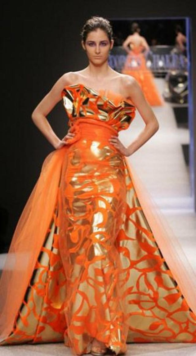 Orange wedding gowns orange obsessions 2208841 for Georges chakra gold wedding dress price
