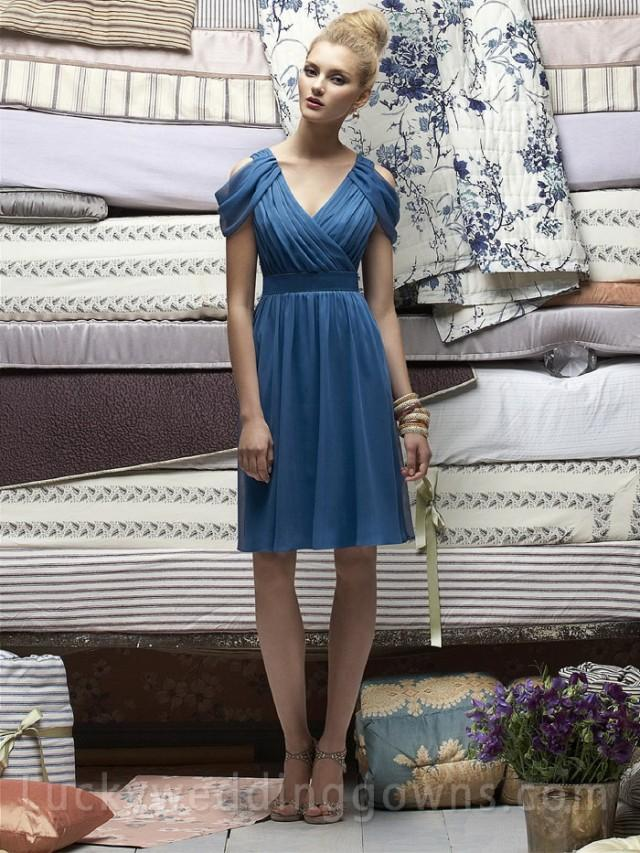 Ocean blue v neck cocktail length chiffon bridesmaid dress for Ocean blue wedding dress