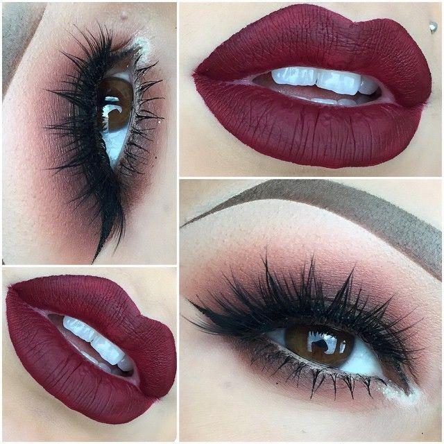 Makeup for burgundy dress