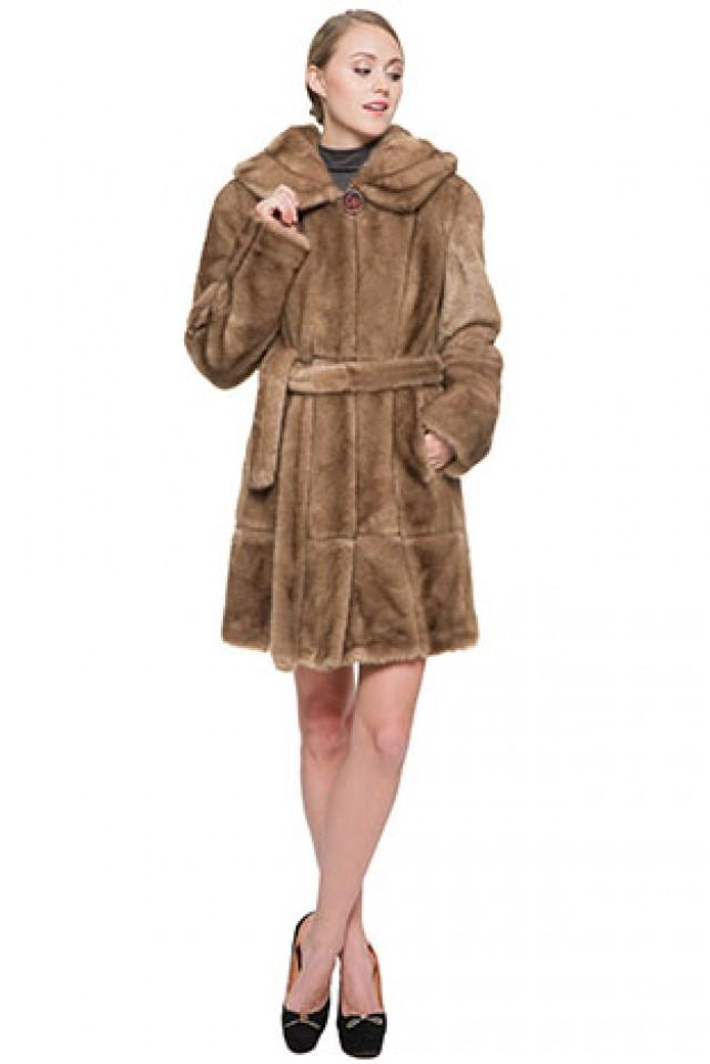 wedding photo - Ligth brown faux mink fur women middle-length coat