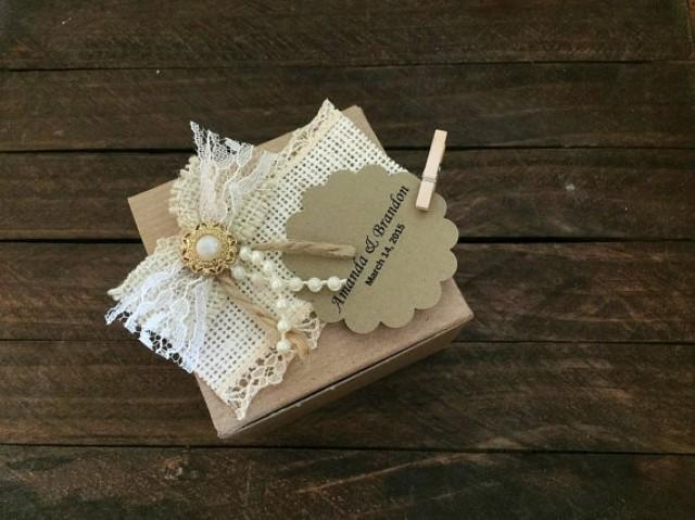 wedding photo - 10 rustic burlap favor box, wedding, bridal shower, baby shower, anniversary, party gift box, candy box.