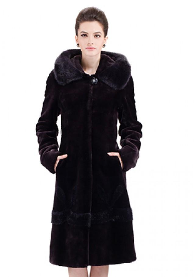 wedding photo - Dark purple faux mink cashmere with hood women full length coat