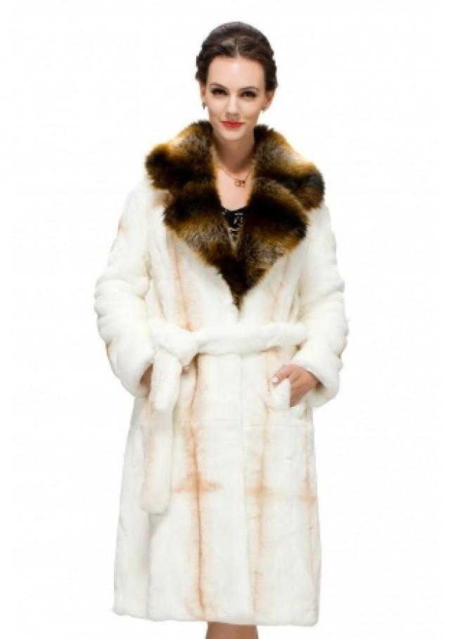 wedding photo - Faux cross pattern white fox fur with brown bunny fur collar long women coat