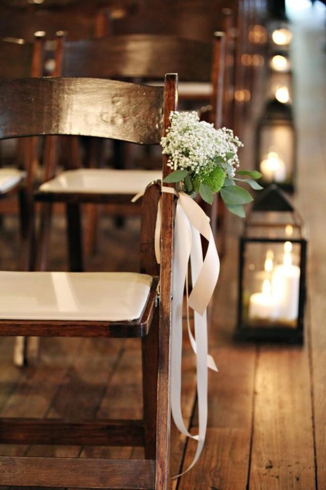 wedding photo - Babys Breath Ceremony Chair Decoration