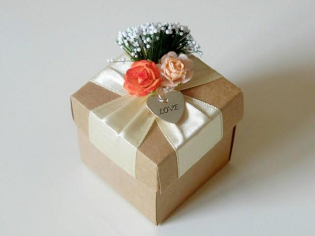 wedding photo - 10 rustic kraft favor box with paper flowers, wedding, bridal shower, bridesmaids, baby shower, tea party gift box