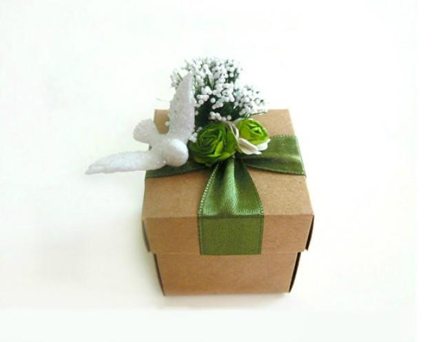 wedding photo - 25 rustic green favor kraft box, wedding, bridal shower, baby shower candy or goft box.