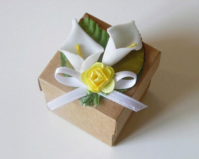 wedding photo - 25 rustic Calla Lily kraft favor box, wedding, bridal shower, baby shower rustic candy or gift box.