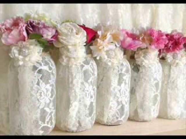 wedding photo - PinKyJubb lace and burlap mason jar vases tea candles