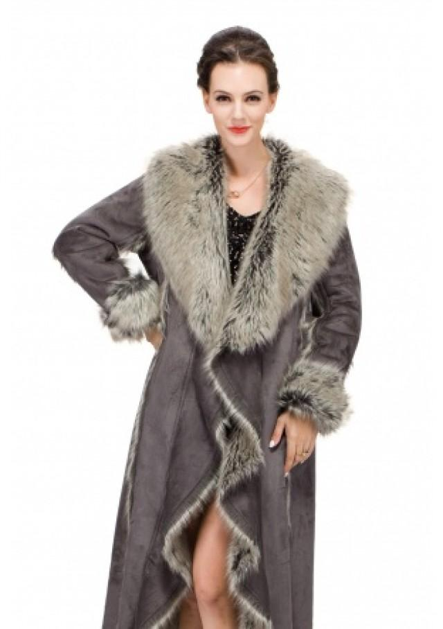 wedding photo - Gray faux suede with fox fur large collar women full length coat