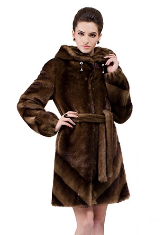 wedding photo - Faux dark brown mink fur with hat women middle coat