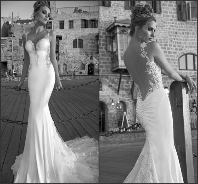 Discount spaghetti beach wedding dresses galia lahav lace for Sexy sheath wedding dress