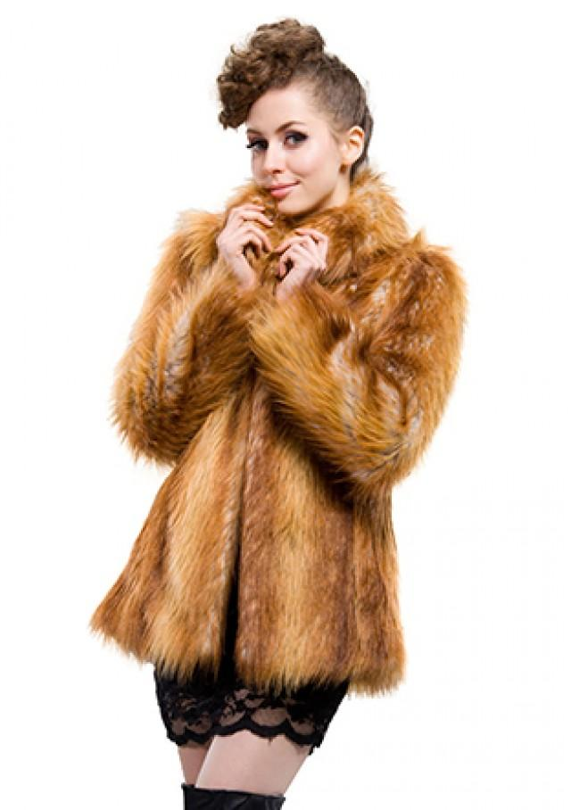 wedding photo - Faux brown raccoon fur short women coat