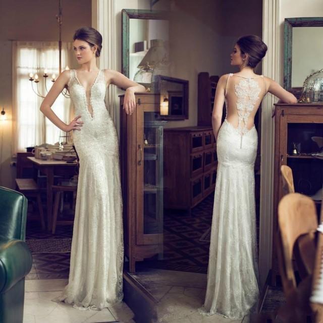 Graceful Sheath Wedding Dresses 2015 Summer A Line V Neck: Discount Sexy Lace Wedding