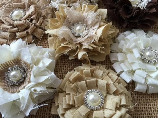 wedding photo - 7 shabby chic flowers, brown, beige, ivory colors.