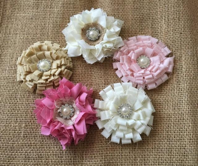 wedding photo - 5 shabby chic handmade flowers pink, rose pink, icory and beige colors