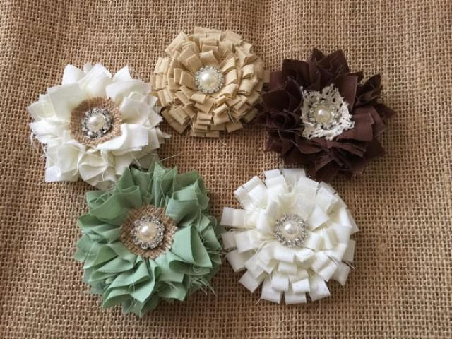wedding photo - 5 shabby chic handmade fabric flowers, ivory, brown, beige and sage green