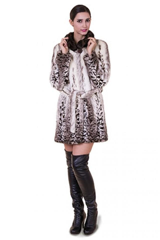 wedding photo - Faux pattern fox fur with dark brown mink fur collar women middle coat