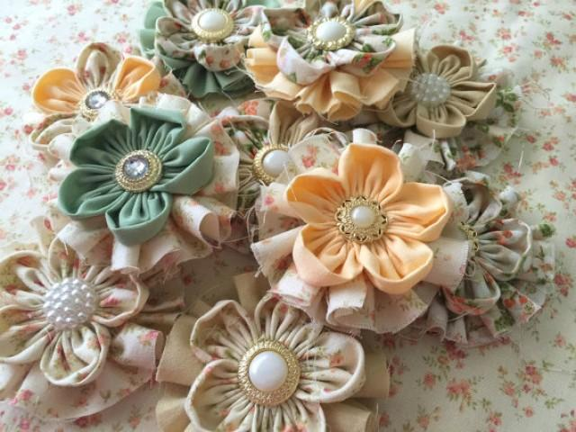 wedding photo - 10 shabby chic handmade flowers, peach, beige, ivory and sage green colors.