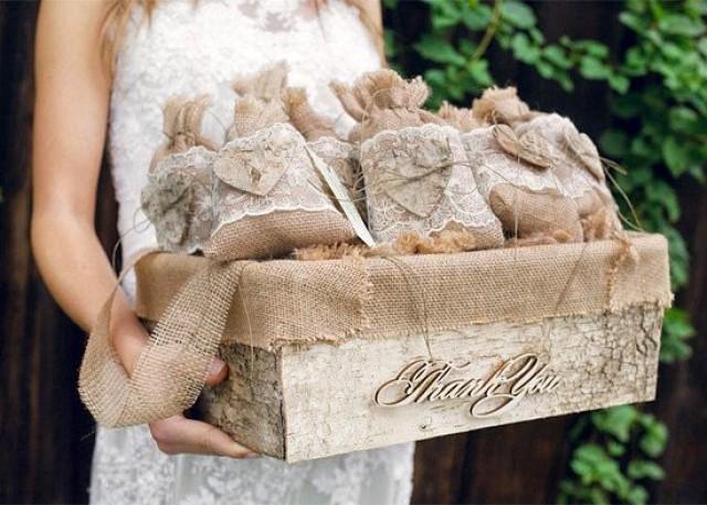 Burlap Wedding Favor Bags Diy : Set Of 50 Burlap Wedding Favor Bags And Big Basket ,Rustic Wedding Set ...