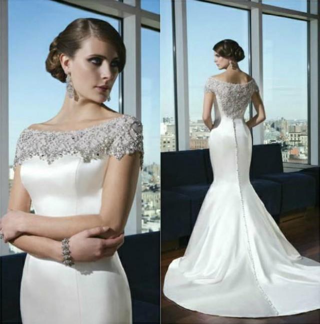 Wedding Gowns 2014: 2014 Mermaid Satin Wedding Dresses Portrait New Sexy Sheer
