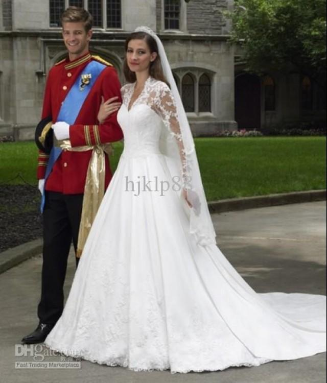 Long Sleeve Satin And Lace Ball Gown Sweetheart With V-neck ...