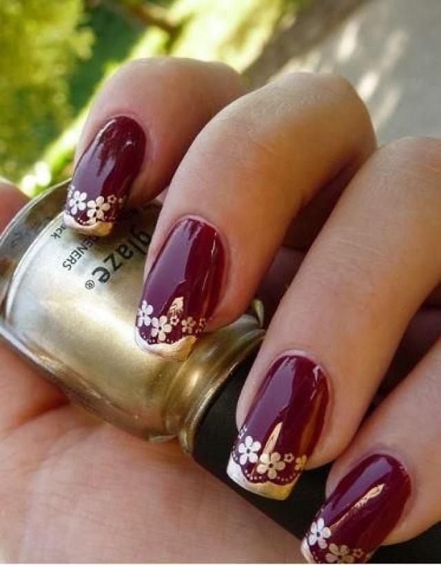 Ногти винного цвета дизайн